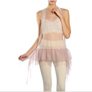 NWT Tulle Cami Undershirt Sheer S M L Gray Taupe